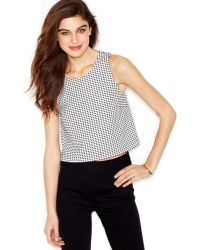 Maison Jules Sleeveless Checked Cropped Top - Lyst