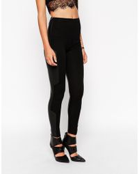 Asos High Waist Stretch Treggings With Leather Look Back - Lyst