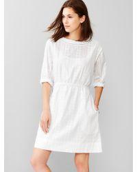 Gap Dobby Jacquard Fit & Flare Dress white - Lyst