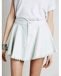 Free People Raw Denim Fit And Flare Mini Skirt - Lyst