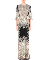 Etro Paisley-Print Embellished Silk Gown - Lyst