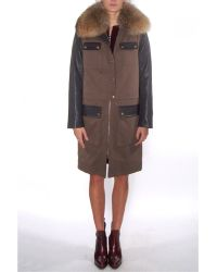 Yves Salomon Classic Army Parka With Leather Sleeves - Lyst