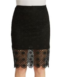 Kensie Open Floral Lace Skirt - Lyst