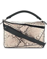 Loewe Puzzle Python Over The Shoulder Handbag - For Women - Lyst