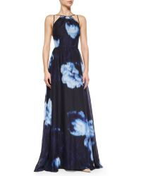 Lela Rose Floral Ikat-Print Strappy Gown blue - Lyst