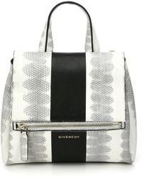 Givenchy Pandora Pure Small Striped Watersnake Shoulder Bag white - Lyst