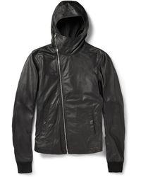 Rick Owens Slim-fit Hooded Leather Jacket - Lyst