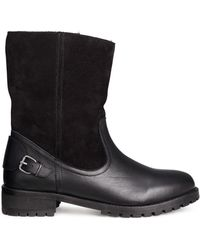 H&M Black Leather Boots - Lyst