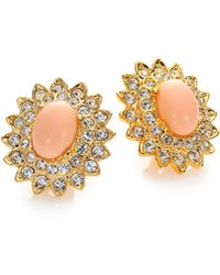 Kenneth Jay Lane Cabochon Oval Clip-On Button Earrings - Lyst