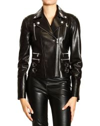 Versace Jacket Biker Leather with Buckle - Lyst