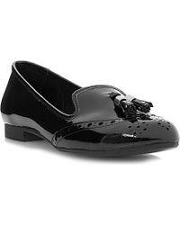 Dune Loki Tassel Patent Leather Loafers - Lyst