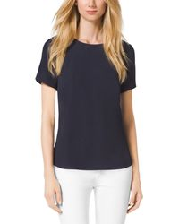 Michael Kors Peplum-Back Crepe Top - Lyst