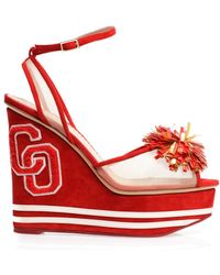 Charlotte Olympia Team Spirit Wedge Sandals red - Lyst