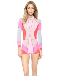 Cynthia Rowley Colorblock Wetsuit - Blue Combo pink - Lyst