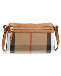Burberry Women'S 'Small Farley' Canvas Check & Leather Clutch Bag - Brown - Lyst