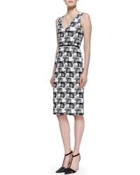 Carolina Herrera V-neck Square Jacquard Dress - Lyst
