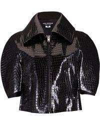 Junya Watanabe Textured Cropped Patent Jacket Black - Lyst