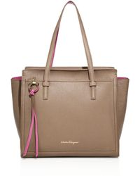 Ferragamo | Amy Medium Soft Two-tone Leather Tote | Lyst
