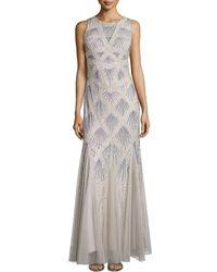 Aidan Mattox Pattern Beaded Godet Gown - Lyst