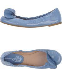 Emporio Armani Blue Ballet Flats - Lyst
