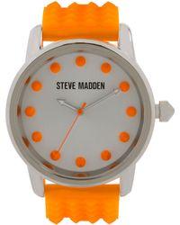 Steve Madden - Women'S Orange Silicone Strap Watch 44Mm Smw00001-28 - Lyst