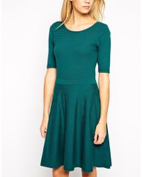 Oasis Ripple Stitch Fit and Flare Dress - Lyst