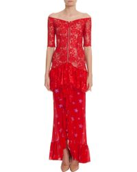 Alessandra Rich Lace Gown With Star - Lyst