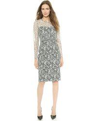 Lela Rose Lace Overlay Dress - Ivory - Lyst