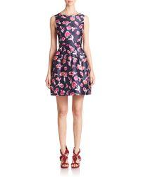 Oscar de la Renta Belted Floral Silk Mikado Dress - Lyst