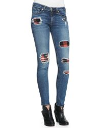 Rag & Bone The Classic Tee The Skinny Sloane Plaid Repair Patch Jeans - Lyst
