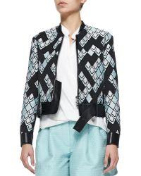 3.1 Phillip Lim Geometric-Print Textured Jacket W/ Leather Belt - Lyst