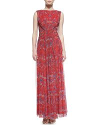 Tadashi Shoji Sleeveless Floral-print Chiffon Gown - Lyst