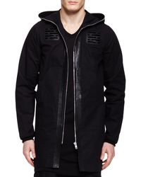 Rick Owens Long Leathertrim Hooded Parka - Lyst