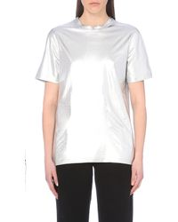 McQ by Alexander McQueen Metallic And Cotton-Jersey T-Shirt - For Women - Lyst