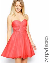 Asos Bandeau Dress With Twisted Bodice - Lyst