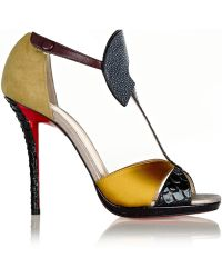 Christian Louboutin Aztec 120 Leather Satin Stingray and Watersnake Sandals - Lyst
