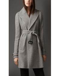 Burberry Cashmere Belted Wrap Coat - Lyst