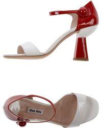 Miu Miu White Sandals - Lyst