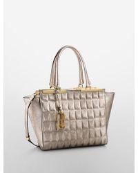 Calvin Klein White Label Kedra Metallic Geometric Embossed Leather City Tote - Lyst
