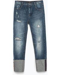 Zara Jeans With Turn-Ups - Lyst