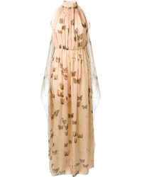 Givenchy Peach Long Silk Dress with Butterfly Prints - Lyst