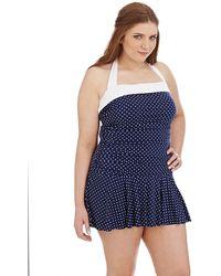 Lauren by Ralph Lauren Plus Plus Size One Piece Harbor Dot Bel Aire Swim Dress - Lyst