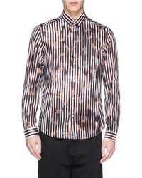 McQ by Alexander McQueen Floral Print Stripe Cotton Shirt - Lyst