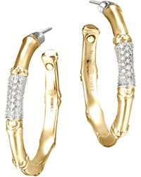 John Hardy Gold Bamboo Pave Diamond Medium Hoop Earrings - Lyst