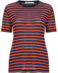 T By Alexander Wang Stripe Linen Short Sleeve T-Shirt - Lyst