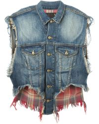 R13 Distressed Layered Denim Gilet - Lyst