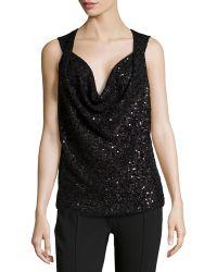 Donna Karan New York Cashmere-Silk Sequined Draped Top - Lyst