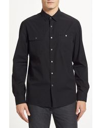 Kenneth Cole Trim Fit Long Sleeve Cotton Sport Shirt - Lyst
