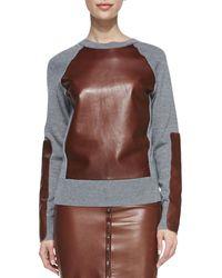 Reed Krakoff Long-sleeve Leather-block Sweatshirt - Lyst