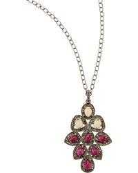 Bavna - Ruby Opal Champagne Diamond Pendant Necklace - Lyst
